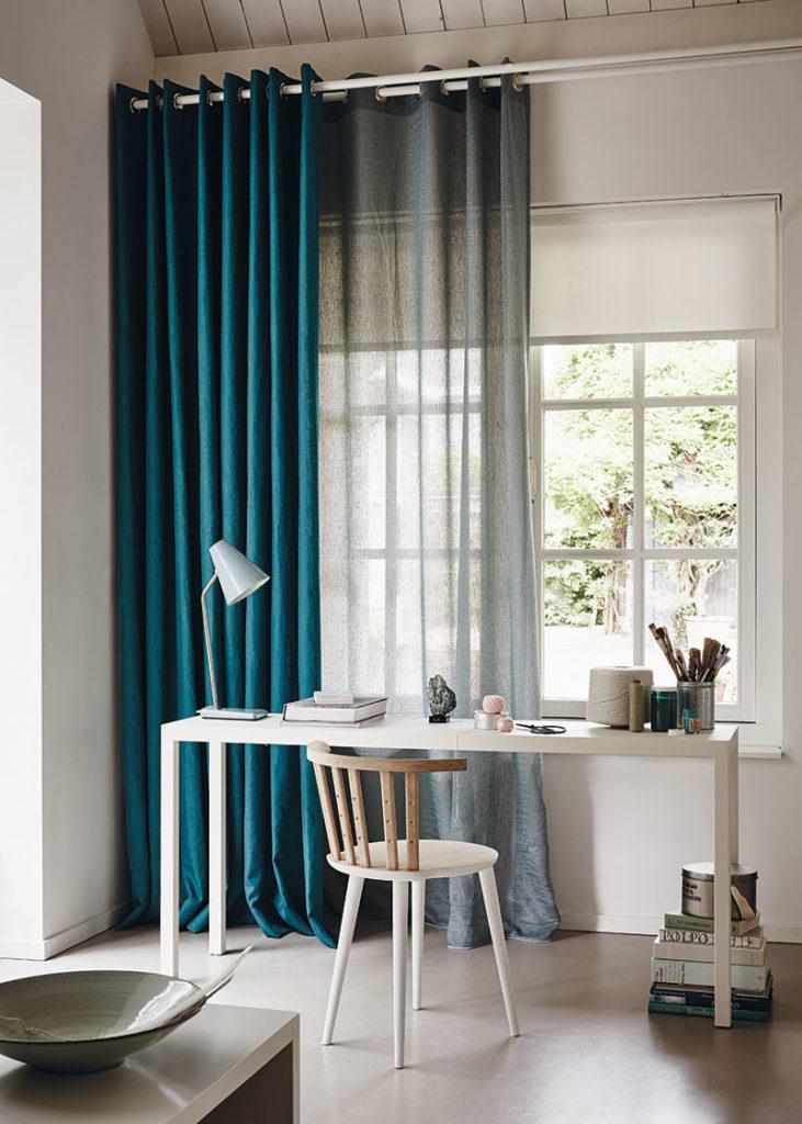 Rullegardin og lange gardiner