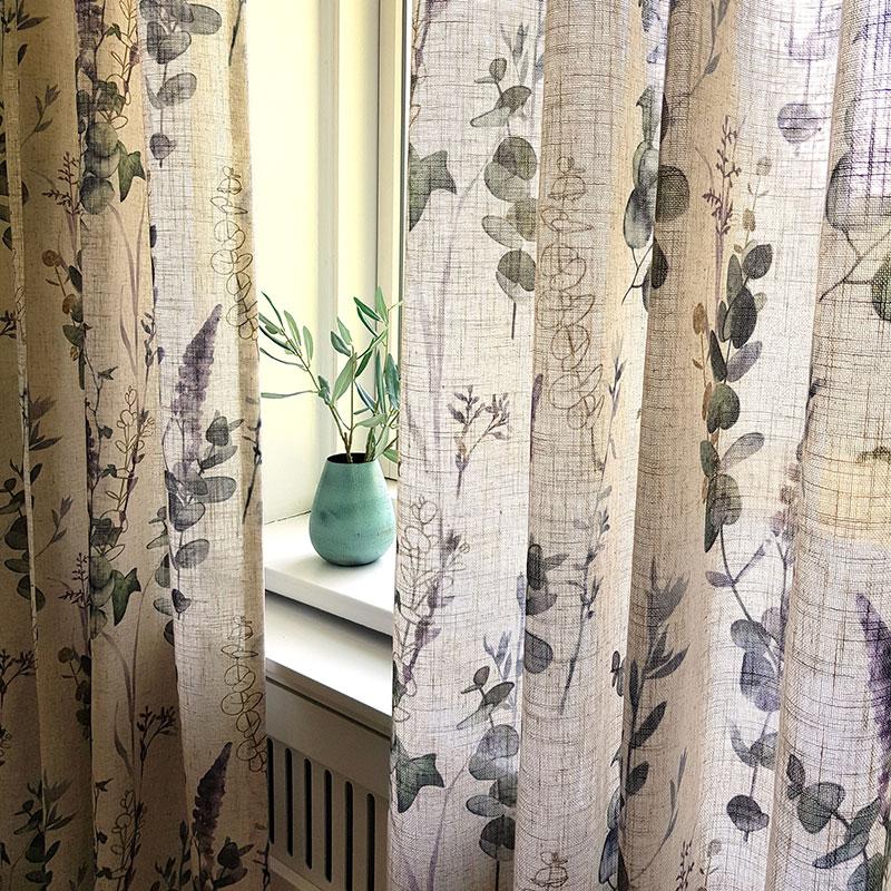 Lange gardiner med blade